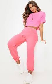 80s fluro fashion - Google Search Trousers Women, Pants For Women, Clothes For Women, Women's Trousers, Pink Wide Leg Trousers, Looks Baskets, Grey Joggers, Blue Crop Tops, Joggers Womens