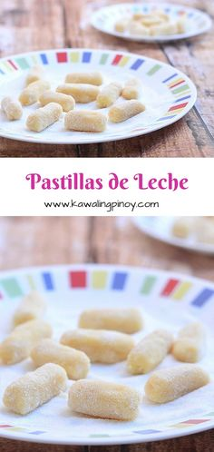 Pastillas de leche are Filipino candies made with milk and sugar; these sweet treats are rolled into logs, coated with sugar and then individually wrapped in Japanese paper Pinoy Dessert, Filipino Desserts, Asian Desserts, Filipino Recipes, Just Desserts, Delicious Desserts, Filipino Food, Yummy Food, Filipino Dishes