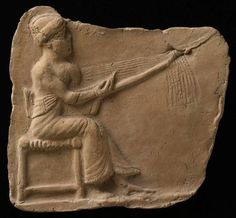 Plaque with a harpist from Eshnunna. In Mesopotamia, stone and metal were rare…