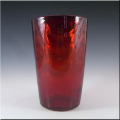 Whitefriars/Marriott Powell Ruby Red Glass Wave Ribbed Vase - £30.00