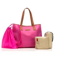 Storksak Ariel Silicone Tote Diaper Bag - Hot Pink | Designer Diaper Bags  www.duematernity.com