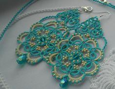Azul pendientes tatted pendientes, pendientes de cordón, joyería de fantasia, pendientes de verano, encaje jewery, tatted lace