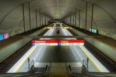 Empty metro station in Helsinki, Finland.