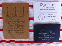 Cute twist on an anchor to femme it up, Nautical Wedding Invitations Calligraphy & Kraft Paper Navy Nautical Wedding Invitations, Beach Wedding Invitations, Wedding Stationary, Party Invitations, Our Wedding, Dream Wedding, Cruise Wedding, Wedding 2015, Church Wedding