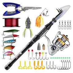 RUNCL Telescopic Fishing Rod and Reel Combos, Spinning Rod and Reel Combo, Carbon Fiber Fishing Pole with Spinning Reel Fishing Plier Lures Lines Hooks for Freshwater Saltwater Boat Fishing  https://fishingrodsreelsandgear.com/product/runcl-telescopic-fishing-rod-and-reel-combos-spinning-rod-and-reel-combo-carbon-fiber-fishing-pole-with-spinning-reel-fishing-plier-lures-lines-hooks-for-freshwater-saltwater-boat-fishing/  The Fishing Gear Kit: Equiped with telescopic rod, spin
