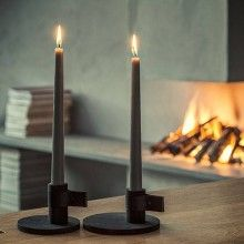 BY WIRTH 'Bright Light' Candle Holder in Black Wood + Leather  --- High quality candle holder made of beautiful oak by Danish brand By Wirth.Available in two sizes.Colours: Nature, BlackMaterials: Oak, leatherSize: Small 9 x 7,5 cm, Large 12,5 x 6 cm