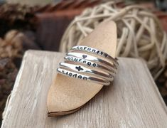 Inspirational Jewelry Gift Serenity Prayer Ring Set Stackable Dainty Personalized Rings Cross Ring Heart Ring Religious Encouragement Gift