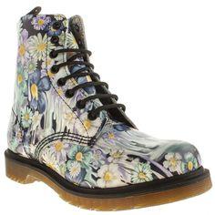 womens dr martens black & purple pascal 8-eye slime floral boots