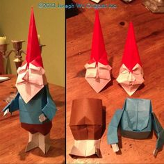 GNOMO Would you be able to fold gnomes from paper? Origami at its best! Origami And Kirigami, Paper Crafts Origami, Origami Paper, Oragami, Origami Christmas Star, Paper Folding Techniques, Origami Dragon, Origami Animals, Origami Tutorial