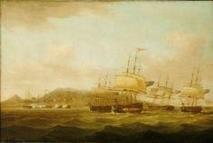 Thomas Withcombe (1812): The capture of Saint Paul near the Isle de Bourbon, 21 September 1809 Right of centre is the Reasonable with the Otter to starboard of her. A frigate is astern of her on the opposite tack while a second is in the right of the picture, followed by the schooner.