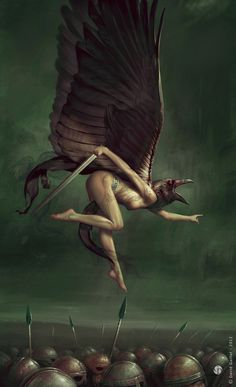 Morrigan by DavidGaillet.deviantart.com on @deviantART In Celtic mythology, Morrighan is known as a goddess of battle and war. Morrighan often appears in the form of a crow or raven, or is seen accompanied by a group of them.