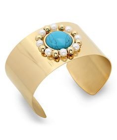 HMY Jewelry Turquoise & Simulated Pearl Halo Cuff | zulily