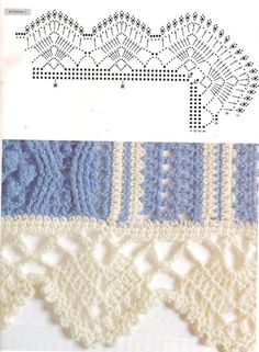 -) ] broad crochet edging with corner, pattern Crochet Boarders, Crochet Edging Patterns, Crochet Lace Edging, Crochet Motifs, Crochet Diagram, Crochet Chart, Crochet Trim, Filet Crochet, Diy Crochet