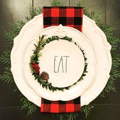 Working on place settings today. This is the first one Yay or Nay? I'll post a. Working on place settings today. This is the first one Yay or Nay? I'll post a few more later on. Plaid Christmas, Christmas Balls, Rustic Christmas, Christmas Home, White Christmas, Christmas Holidays, Christmas Wreaths, Christmas Ornaments, Christmas Mantal