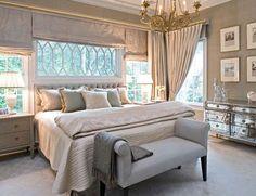 Platinum, gold and cream envelope this dreamy bedroom