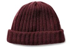 Men's Ribbed Cashmere Hat, Bordeaux -- Give his outerwear a handsome upgrade with this luxuriously soft cashmere hat. The ribbed texture and bordeaux hue will ensure he looks stylish while fending off winter's chill. A Great Christmas gift idea for him!