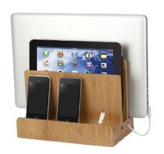 Amazon.com: Bamboo Multi Device Charging Station and Cord Organizer for Smartphones, Tablets and Laptops. Universal Compatibility with iPad, iPhone, Samsung, Android and all other devices.: Electronics