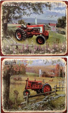 Tin Farmall Plaques 2 Assorted If you want both you need to order quantity of Tin signs 2 assorted for the Farmall nostalgic farm and tractor buff. Both have old barns, Farmall tractor and old implements in pictures. Measures: 11 X X Old John Deere Tractors, Farmall Tractors, Vintage Tractors, Antique Tractors, Tractor Pictures, Farm Pictures, Deer Pictures, Farm Paintings, Acrylic Paintings