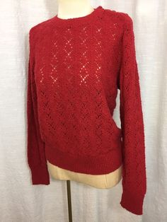 Vintage Women's Red Sweater Pullover Long Sleeve It's Pure Gould 1980s Small  | eBay
