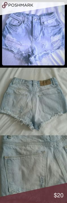 H&M Light blue distressed shorts Size 2, hardly worn. H&M Shorts