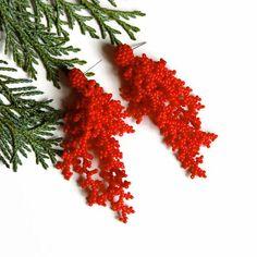 Boucles doreilles corail rouge perlé boucles doreilles rouge