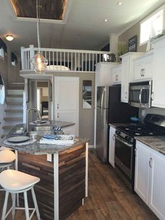 I like a island in a tiny house. It opens up the kitchen Kropf Island Cottage Park Model Best Tiny House, Modern Tiny House, Tiny House Living, Tiny House Plans, Tiny House Design, Tiny House On Wheels, Small Living, Tiny Home Floor Plans, Tiny House Shed