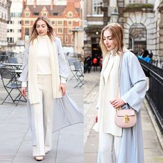 Chloé Chloe Drew Bag Pink, Blue Maxi Coat, Beige Knitted Scarf, Beige Wide Leg Pants, White High Neck Top, Crystal Drop Earrings, Nude Pointed Toe Shoes
