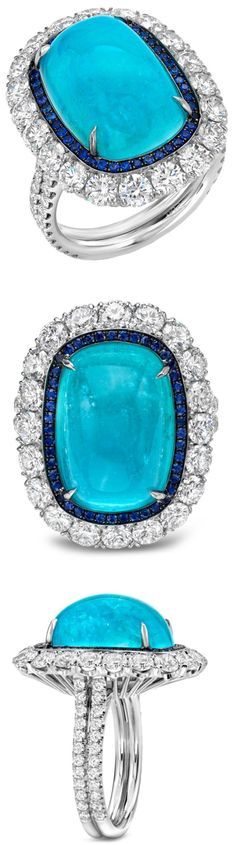 Glorious Paraiba Tourmaline, Sapphire and Diamond Ring by @tamirjewels, via @1stdibs. A rare and ultra exclusive 12.34ct Brazilian Paraiba Tourmaline, cushion cabochon, showcased in a 2.77ct diamond...