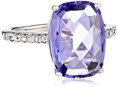 Sterling Silver Swarovski Crystal Ring. Sterling silver ring featuring radiant-cut simulated center stone and Swarovski accent crystals on band. Imported.