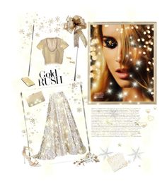 """""""White and gold Rush"""" by takenbyanangel on Polyvore featuring Rifle Paper Co, Lela Rose, SCEE, Jimmy Choo, Mimi So, Goldgenie and Neiman Marcus"""