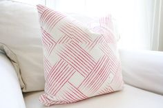 Woven Berry Pillow Cover Hot Pink Weave by WhiteHavenDesigns