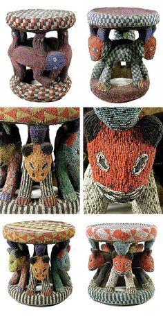 Africa | Beaded stools from the Bamileke people of Cameroon. | Wood, fabric and glass beads | 20th century