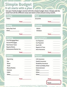simple budget worksheet free printable