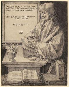 Albrecht Dürer (1471–1528): Porträt von Erasmus von Rotterdam, Nürnberg (Vorstudie dazu entstand in Brüssel), 1526. Kupferstich,…