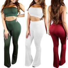 2 PCS Sexy Fashion Suit Style Casual Sets Sleeveless Wrapped Chest Tops + Elastic Waist Long Pants