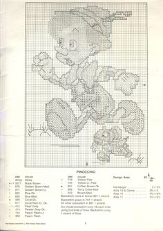 Paragon ~ Walt Disney Characters In Counted Cross Stitch ~ Pinocchio Back Stitch Embroidery, Embroidery Stitches, Embroidery Patterns, Disney Cross Stitch Patterns, Counted Cross Stitch Patterns, Cross Stitch Designs, Cross Stitch Boards, Cross Stitch Needles, Plastic Canvas Patterns