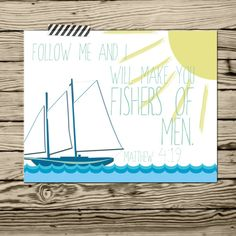 Baby Boy Bible verse nursery quote poster print 11x14 Follow me I will make you fishers of men Matthew 4:19