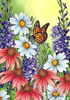 Monarch Spring Garden Flag Butterfly Floral x Briarwood Lane Blue Butterfly Wallpaper, Butterfly Painting, Butterfly Art, Flower Art, Butterflies, Classroom Art Projects, Yard Flags, Butterfly House, Spring Painting
