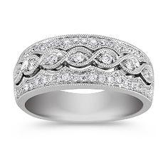 Vintage Diamond Ring with Pavé Setting Shane Co