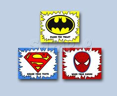 superhero bathroom sets. Super Hero Boys Bathroom Art Prints SET OF 3 8x10s Washroom  Funny bathroom art for the downstairs Too bad we re