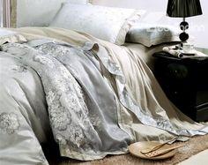 Ivory Jacquard Floral Drill Duvet Cover Bedding Sets Like us @bedding inn #satin #bedding #homedecor