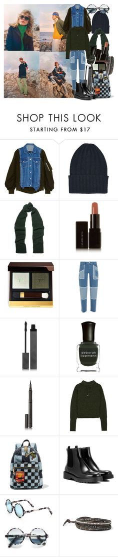 """""""This is the part where your world falls to pieces , the scene where the curtain is drawn, where the pages that speak of your life fill with creases and your dreams are all wary and worn"""" by brownish ❤ liked on Polyvore featuring Sacai, The Elder Statesman, Étoile Isabel Marant, Illamasqua, Tom Ford, House of Holland, Burberry, Deborah Lippmann, Topshop Unique and Marc Jacobs"""