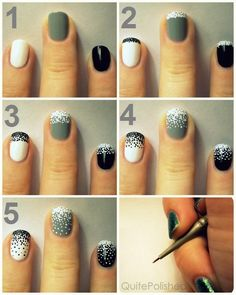 How To Do The Stippling Gradient Nails | tutorial in picture