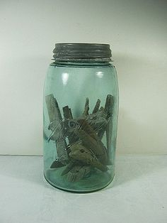 Green Vintage Ball Canning Jar Antique 1900s  by LavenderGardenCottage on etsy