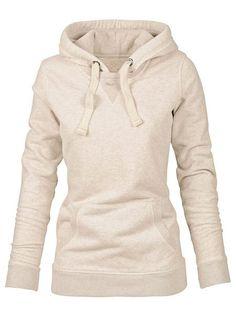 Simple Hooded Long Sleeve Pocket Design Hoodie For Women
