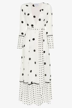 Compre We Are Leone polka dot print silk maxi robe Stylish Dresses, Elegant Dresses, Beautiful Dresses, Casual Dresses, Fashion Dresses, Dot Dress, Dress Up, Shirt Dress, Modest Outfits