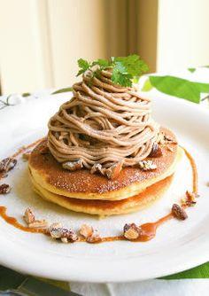 Mont Blanc Pancake at Cafe Downey, Nagoya, Japan モンブラン・パンケーキ
