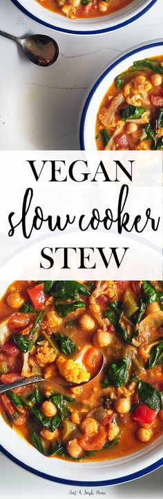Vegan Slow Cooker Stew with Spinach and Chickpeas. This stew is super simple to make and tastes delicious, a recipe the whole family will love. Perfect for chilly days and days when you don't want to cook. Meat free with loads of veggies and healthy for you!