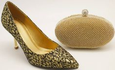 Gold Glitter Pump Heel & Matching Clutch Bag Set