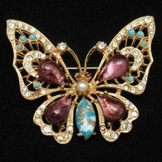Butterfly Brooch Pin Art Glass Rhinestones ART